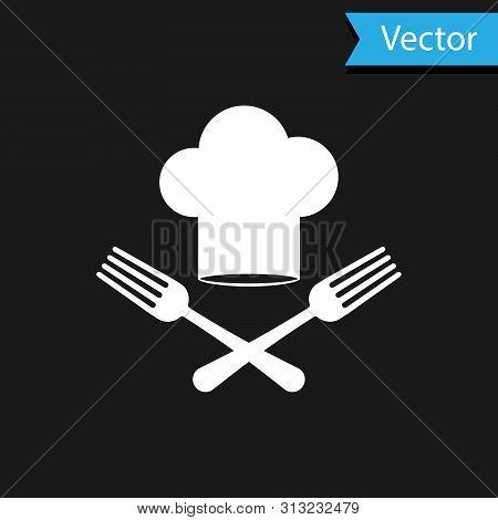 White Chef Hat And Crossed Fork Icon Isolated On Black Background. Cooking Symbol. Restaurant Menu.