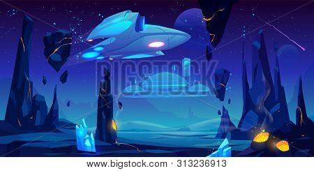 Spaceship, Interstellar Station Hover Above Alien Planet Surface, Neon Space Background With Flying