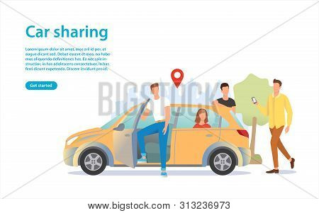 Car Sharing Illustration. A Group Of People Near The Car. Share Automobile For Commuting. Renting A