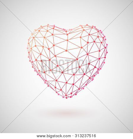 Concept Of Medical Technology And Healthcare. Red 3d Polygonal Wireframe Heart. Medicine Technology
