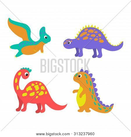 Set Of Colorful Dinosaurs In Beautiful Style On White Background. Cute Cartoon Dino Design. Happy Sm