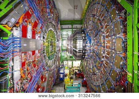 Cern, France - 25 June, 2019: A Part Of The Large Hadron Collider (lhc) Is Seen Underground Inthe Fr