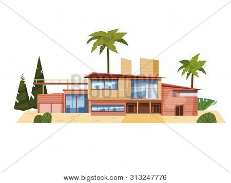 Modern Villa On Residence, Expensive Mansion Palm Trees. Luxury Cottage House Exterior. Cartoon Vect