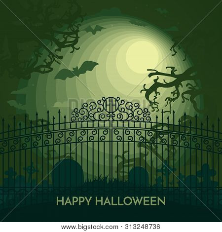 Haunted Happy Halloween Vector Banner With Cemetery In Full Moon Light