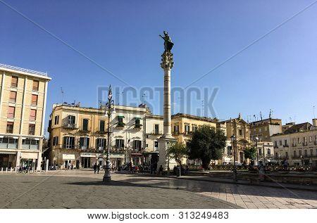 Lecce, Italy - October 25, 2016: The Column Of Saint Orontius (colonna Di Sant Oronzo) Who Was The F