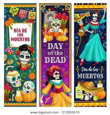 Mexican Day Of Dead Vector Greeting Banners Of Dia De Los Muertos Design. Dancing Skeletons, Sugar S