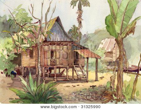 village scenery in watercolor
