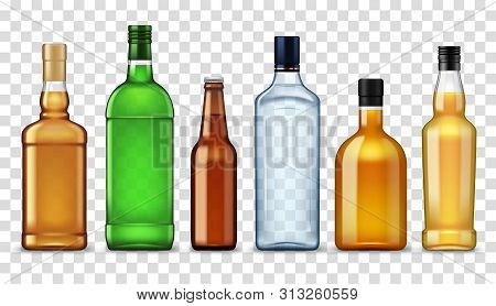 Bottles Of High Spirit Alcohol Drinks Isolated On Transparent. Vector Vodka, Craft Beer And Brandy,