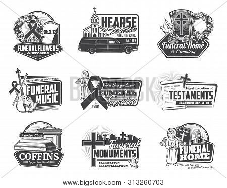 Funeral Ceremony And Hearse Services Isolated Monochrome Logos. Vector Burial Flowers And Wreaths, C
