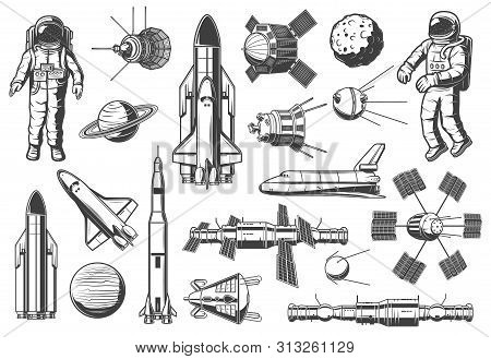 Space And Astronomy Isolated Monochrome Icons. Vector Spaceman Suit And Rocketship, Aircraft And Shu