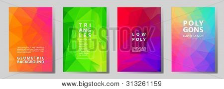 Facet Polygonal Digital Brochure Covers Vector Graphic Design Set. Crystal Texture Low Poly Patterns