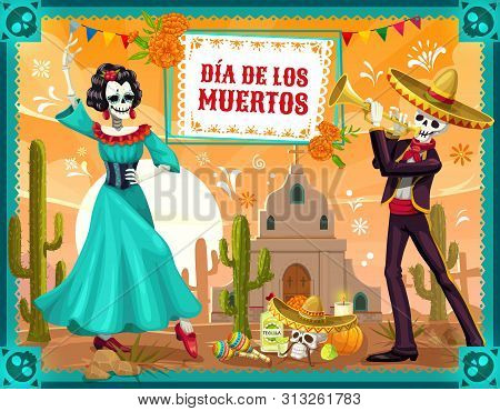 Mexican Day Of The Dead Dancing Skeletons Vector Design Of Dia De Los Muertos Holiday. Skeletons Of