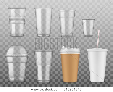 Empty Disposable Plastic Or Paper Cups With Cover And Straw Isolated On Transparent. Vector Takeaway