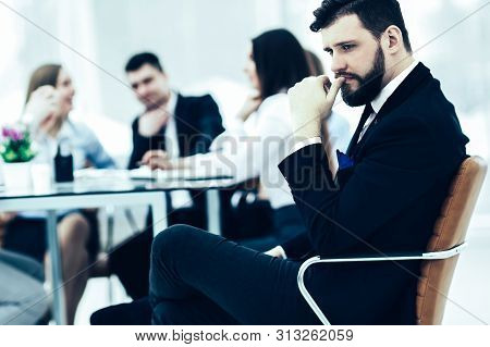 Manager Of The Company On The Background Of The Working Meetin