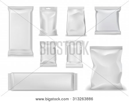 Bag Packs, White Foil Doypack And Sachet Pouch Template Mockups. Vector Isolated Realistic 3d Blank