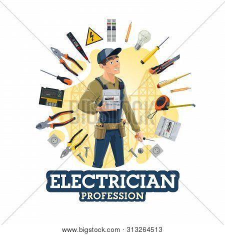 Electrician Profession, Man And Work Tools, Electrical Equipment. Vector Lineman, Counter And Screwd