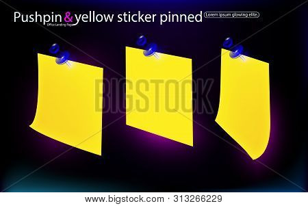 Office Set Yellow Stickers, Pinned Blue Pushbuttons With Curled Corner, Ready For Your Message. Isol