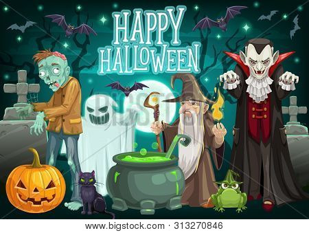 Halloween Monsters On Cemetery Vector Greeting Card Of October Holiday. Pumpkin Lantern, Ghost And B