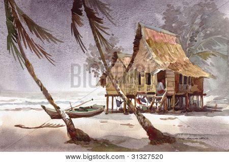 thunder storm at village watercolor