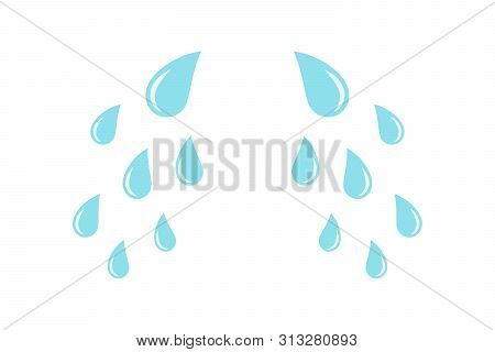 Cartoon Cry Tears. Droplets Or Teardrops Icons