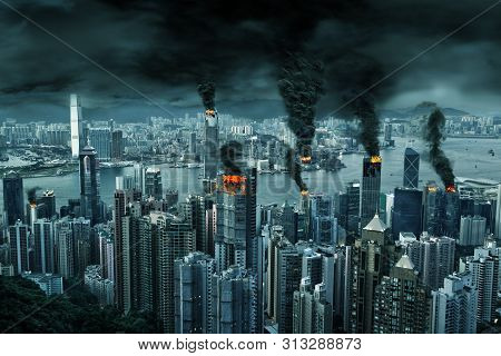 Illustration Of Fictitious Destruction Of Chaotic Hong Kong City Skyline With Fires, Explosion. Conc