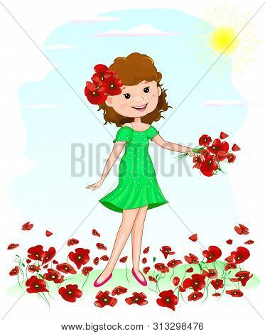 Happy Young Girl Gathers Flowers Red Poppies. A Girl In A Green Dress Is Standing On A Glade With Re
