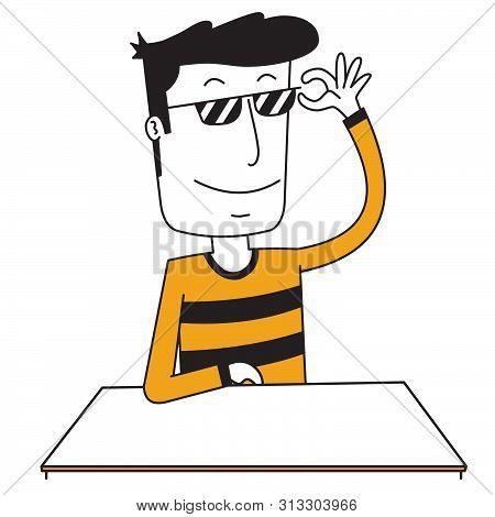 Illustration Of A Stylish Man Using A Spectacle