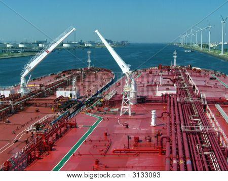 Oil Tankers Lightering In Rotterdam