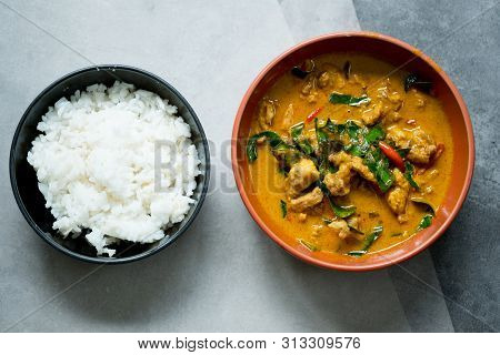 Chicken Panang Curry Serve With Steamed Rice, Thai Delicious Food