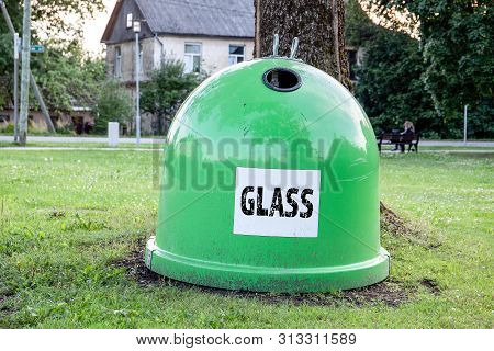 Waste Recycling, Trash Containers For Glass. Sorting Garbage