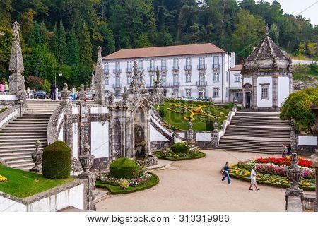 Braga, Portugal - October 6, 2017: Bom Jesus do Monte Sanctuary. Hotel do Templo seen across Largo do Pelicano aka Pelican Square. Unesco World Heritage