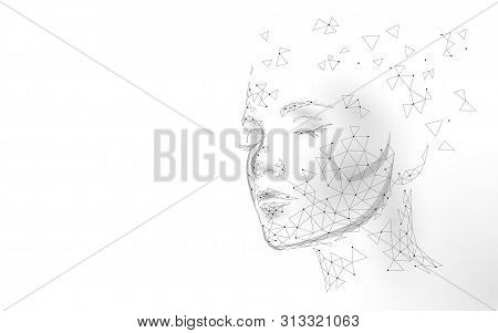 Low Poly Female Human Face Laser Skin Treatment. Rejuvenation Procedure Beauty Salon Care. Clinic Me