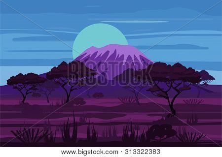African Night Landscape Savannah Wild Nature, Twilight Night. Grass, Bushes, Acacia Trees And Mounta
