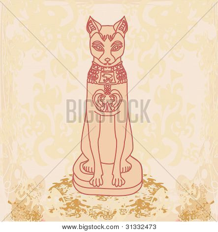 Stylized Egyptian cat on the old paper , vector illustration poster