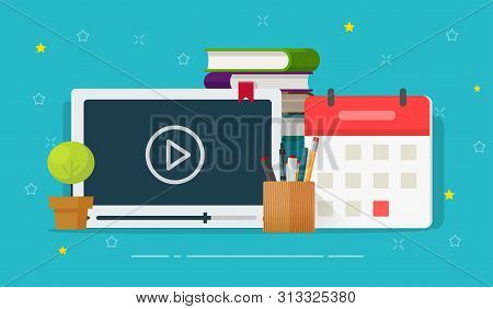 Online Courses Or Webinar Training Vector Illustration, Flat Cartoon Video Player And Educational St