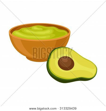 Traditional Mexican Sauce Guacamole. Vector Illustration On White Background.