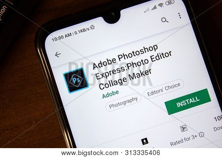 Ivanovsk, Russia - July 07, 2019: Adobe Photoshop Express App On The Display Of Smartphone Or Tablet