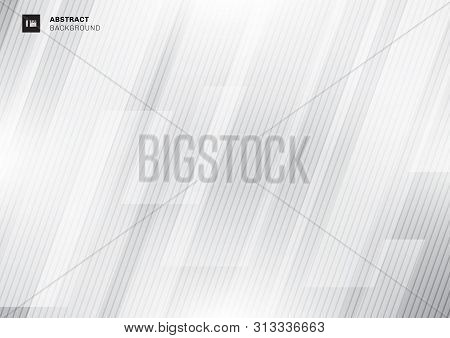 Abstract Modern Technology Concept Gray Geometric Overlapping Diagonal With Lines Texture On White B