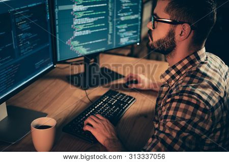 Close Up Side Profile Photo Handsome He Him His Guy Linux Windows Cross Platform Coder Typing Php Cs