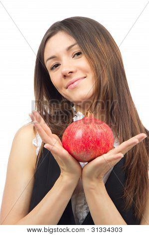 Woman Show Pomegranate Fruit