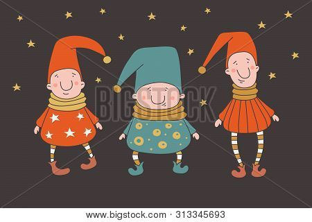 Three young funny dwarf in caps. Funny elves. Fairy-tale characters can be used to design children`s interior, clothing and books. Cartoon vector illustration on dark background isolated. poster
