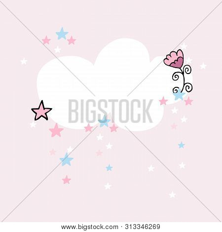 Pastel Cute Poster Template With Clouds. Nursery Decor Or Card.