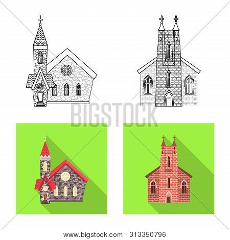 Vector illustration of cult and temple logo. Collection of cult and parish vector icon for stock. poster