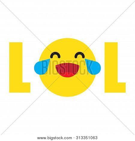 Lol! Word Icon. Lol Emoji Icon Smile Face. Vector Illustration On White Background