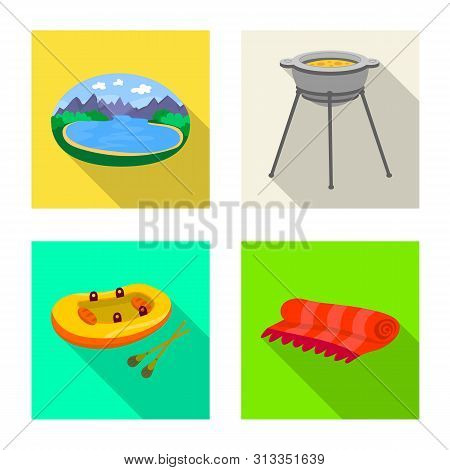 Vector Design Of Cookout And Wildlife Icon. Set Of Cookout And Rest Stock Vector Illustration.