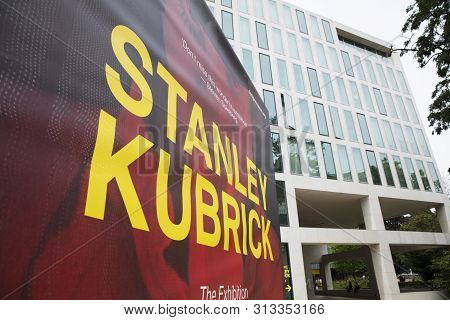 London, United Kingdom, 18th July 2019, Stanley Kubrick Exhibition Banners Outside The Design Museum