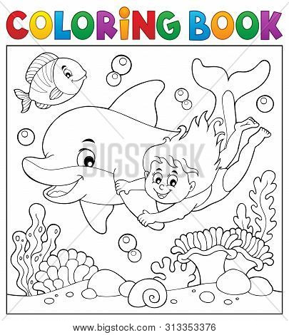 Coloring Book Girl And Dolphin Theme 2 - Eps10 Vector Picture Illustration.