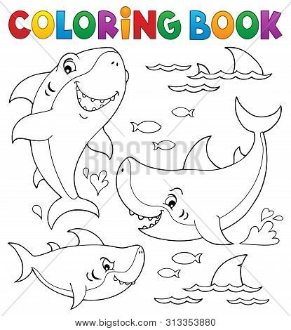 Coloring Book Shark Topic Collection 1 - Eps10 Vector Picture Illustration.