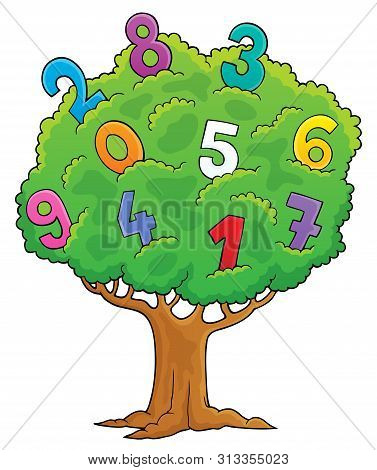 Tree With Numbers Theme Image 1 - Eps10 Vector Picture Illustration.