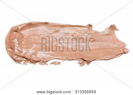 Concealer Cream Smear Isolated On A White Background.